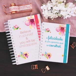 "Planner 19-20 | 2020 daily view -  B6 or A5 size - ""flores"" cover (Portuguese version)"