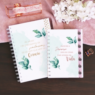 Notebook PHRASES Folhas - B6 or A5 - Hardcover