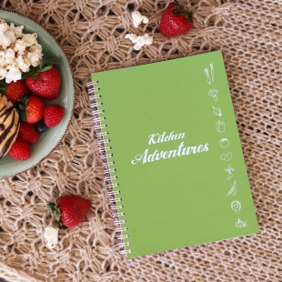 A5 Recipe Notebook - Kitchen Adventures Green (English version)
