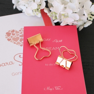 Heart clips in rose gold  (big size) - 2 units