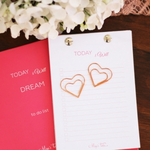 """Heart shape"" clip in rose gold - 2 units"